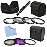 BIRUGEAR 58mm 7pc Lens Filter Accessory Kit + Flower Lens Hood + Lens Pen&Cleaning Cloth for Canon EOS 70D, 1100D, 1000D, 100D, 700D, 650D, 600D, 550D, 500D, 450D, 400D, 60Da, 60D, 7D, 5D Mark III, 5D Mark II with Canon Lenses (18-55mm, 75-300mm, 50mm 1.