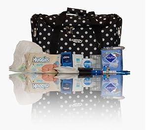 Black polka dot Essentials pre-packed maternity/hospital bag/holdall for Mum & Baby