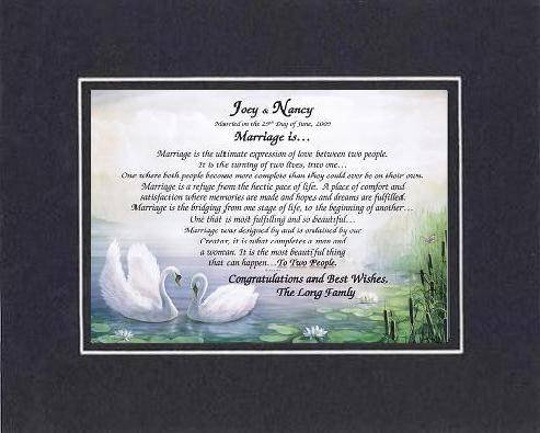 Personalized Touching And Heartfelt Poem For Wedding - Marriage Is . . . Poem On 11 X 14 Inches Double Beveled Matting (Black On Black) front-315033