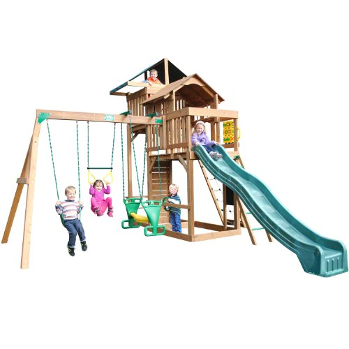 Funtime Auburn Hills Swing Set With 10 Ft Green Wave Slide front-170226