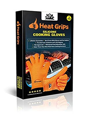 Premium Heat Grips Insulated Cooking Gloves Heat Resistant Grilling Gloves, Pot Holders, Oven Mitt and BBQ Gloves | 444 Page Grilling Recipes Ebook Included | Extra Thick 185 Gram Environmentally Friendly Silicone for Barbecue Grilling, Smokers, Cooking,