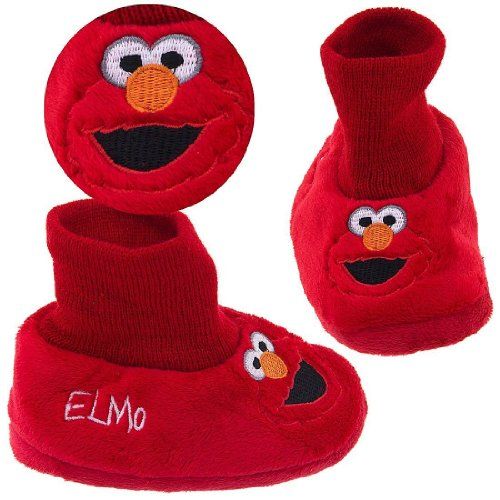 "A favorite of mom's and kids for 30 years, these Sesame Street elmo puppet slippers will be your child's favorite, too. Your child will love having elmo to play with: on your foot – it's a slipper. On your hand – it's a puppet! this classic slipper style is easy to slip on, with a knit ""sock top"" around the ankle to keep little."