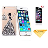 Se7enline Handmade [Perfect Fit] Luxury 3D bling Rhinestone Crystal PC Case for iPhone 6 4.7 (2014), [3 in 1 Bundle] Case+ 2 piece HD Clear Screen Protectors+Soft Clean Cloth, black butterfly princess dress pattern