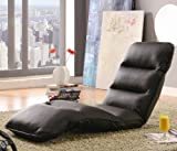Adjustable Lounge Chair with Split Cushion Seat in Brown Leather Like