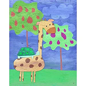 Giraffe and Turtle Canvas Art