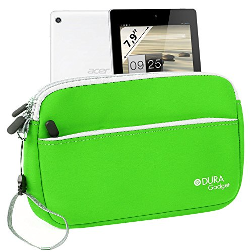 """Duragadget Bright Green """"Travel"""" Neoprene Case With Zipped Front Storage Compartment For Acer Iconia A1-810-L416 7.9-Inch 16 Gb Tablet"""