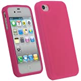 IGadgitz Pink Silicone Skin Case Cover for Apple iPhone 4 HD & 4S 16GB 32GB 64GB + Screen Protector