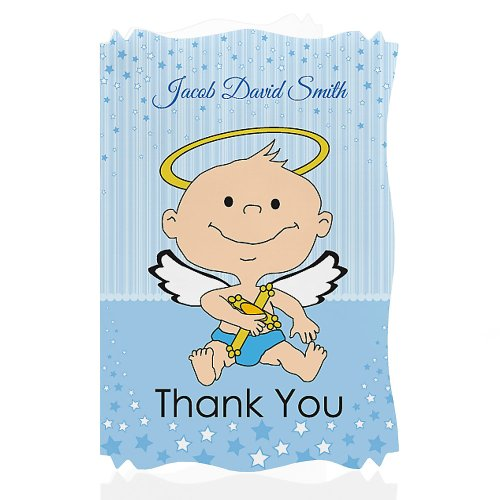 Angel Baby Boy - Personalized Baptism Thank You Cards front-15984