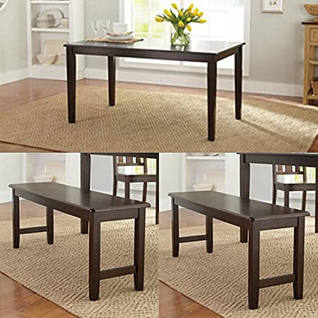 3-Piece Dining Table Set with 2 stylish Bench designed to fit two people. Perfect to your Home Kitchen Furniture sidetable is made of solid wood in Mocha to complement almost any decor theme - by Better Homes and Gardens