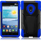 For LG Lucid 2 VS870 T-Stand Impact Kickstand Hybrid Double Layer Fusion Cover Case Black/Blue