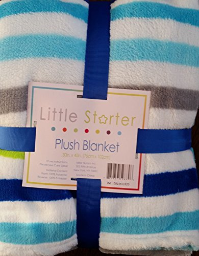 Little Starter Plush Blanket in Blue, Green, and Grey Stripe - 1
