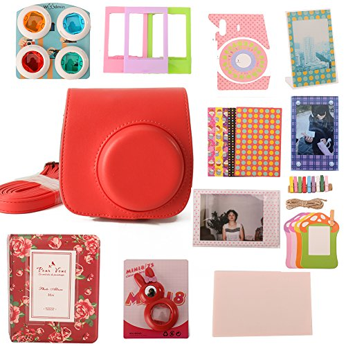 woodmin-12-in-1-accessori-bundle-set-per-fujifilm-instax-mini-fotocamera-da-8-rosso-mini-8-caso-foto