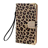 Tonsee Diamond Leopard Leather Flip Wallet Case For Samsung Galaxy Note 4 (Gold)
