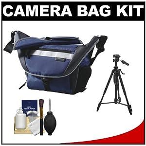 Vanguard Sydney 27 Messenger Digital SLR Camera Bag/Case (Blue) + Tripod Kit for Canon EOS 7D, 5D Mark II III, 60D, Rebel T3, T3i, Nikon D3100, D3200, D5100, D7000, D800, A35, A55, A57, A65, A77 Digital SLR Cameras