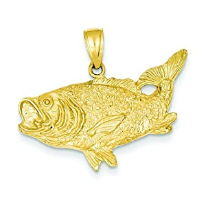 14k gold bass fish charm fishing jewelry for Gold fish charm