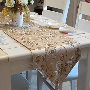 FADFAY Gold Sequin Table Runner, Jacquard Short Table