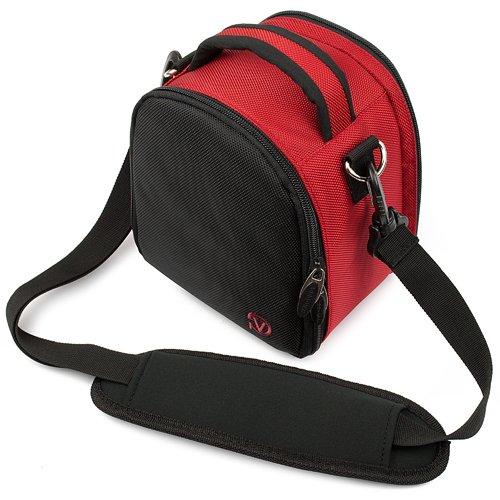 Protective Laurel Red Handbag Camera Bag with Padded Compartment and Adjustable Shoulder Strap for Nikon Digital SLR Camera Models D5100 D3100 D3000 D300S D5000