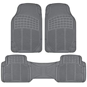BDK Heavy Duty Car Floor Mats - Universal for Car Truck SUV - Full 3pc Set in Gray
