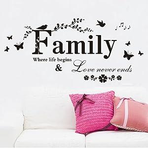 """decorativo?23.6 """" x 43.3"""" familia donde la vida empieza y amor nunca termina Decoraciš®n Cotizaciones RPegatinas Hogar tratamiento marca ColorfulHall - BebeHogar.com"""