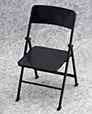 1/6 Scale Dollhouse Miniature Furniture Folding Chair for Dolls Action Figure Solider- Blackx1