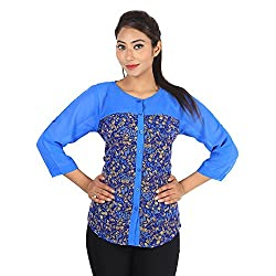 Jiyami Creations Women's Georgette Floral Top_KT005_Multicolored_L