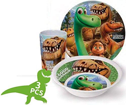 Disney The Good Dinosaur Arlo e Spot bambini, Servizio con piatto, ciotola per müsli e bicchiere in melammina