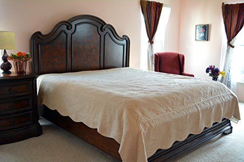 Tache 5 Piece Super Soft Plush Solid Paisley Magic Carpet Bedspread,Coverlet, Quilt Set In Solid Beige- California King
