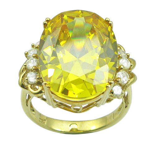 10k Gold Plated Sterling Silver Oval-Cut Citrine Colored Cubic Zirconia Ring with Peridot Colored Cubic Zirconia Accents, (32.14 cttw), Size 6