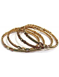 Shingar Jewellery Ksvk Jewels Antique Gold Plated Polki Kundan Bangles Set In 2.4 Size For Women (8208-m-2.4-1...