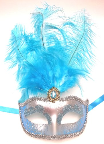 Light Blue Silver Feather Masquerade Mardi Gras Mask Jewel