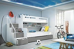 Brand New Kids Children Bunk Bed Bed Max 3 White/Grey with Mattresses Storage sold by Arthauss
