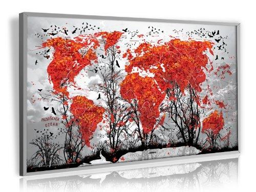 XXL Ahorn – Photo Art-Design Weltkarte (Limited Edition) – Pinnwand, matt antireflexierend laminiert (beschreib- u. abwaschbar), im Alurahmen gerahmt