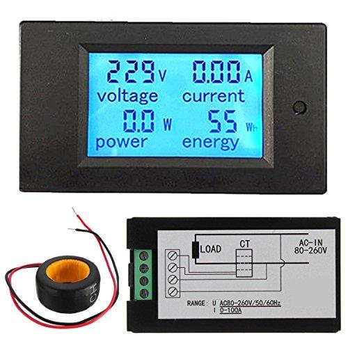 ELEGIANT AC 100A Digital Numérique LED Power Panel Meter Moniteur Ampèremètre Voltmètre