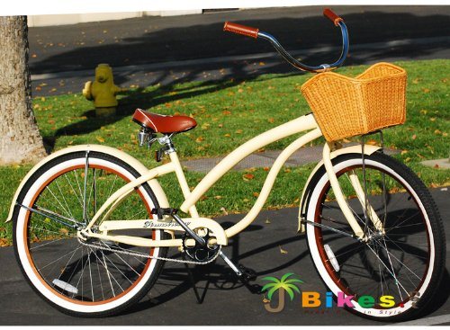 "Fashionista Custom Deluxe 26"" Women'S Beach Cruiser Bicycle Vanilla front-520075"