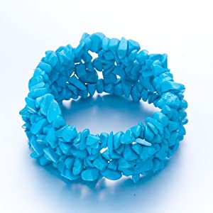 Pugster Genuine Turquoise Gem Gemstone Nugget Chips Stretch Chunky Stretch Bracelet For Women