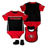 NFL San Francisco 49ers Creeper/Bib and Bootie Set, Youth 6-9 Months, Black