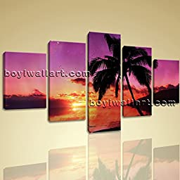 Large Wall Art Print On Canvas Contemporary Seascape Sunset Palm Tree Landscape 5 Panels Wall Art Inner Framed Ready To Hang by Bo Yi Gallery 54\