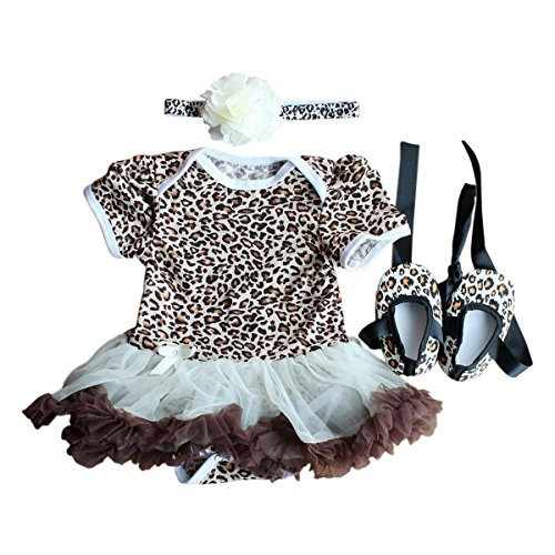 TANZKY® Baby Girls' 3PCs Leopard Tutu Party Outfit Dress
