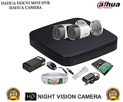Dahua DH-HCVR4104C-S2 4CH Dvr, 2(DH-HAC-HFW1000RP-0360B) Bullet Camera (With 1TB HDD,Cable, BNC&Dc Connectors, Power Supply)
