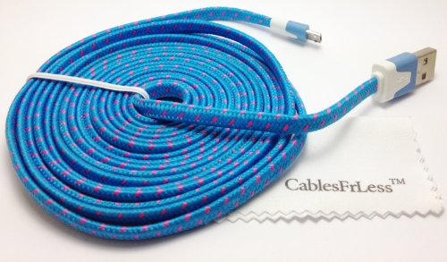 Cablesfrless (Tm) 10Ft Flat Braided Micro Usb Charging / Data Sync Cable Fits Most Android Phones And Tablets Samsung Galaxy S3 S4 Reverb Note Tab Google Nexus Kindle Nokia Lumia Htc One Asus Lg G2 Pantech Blackberry Motorola Sony Xperia Etc. (Sky Blue)
