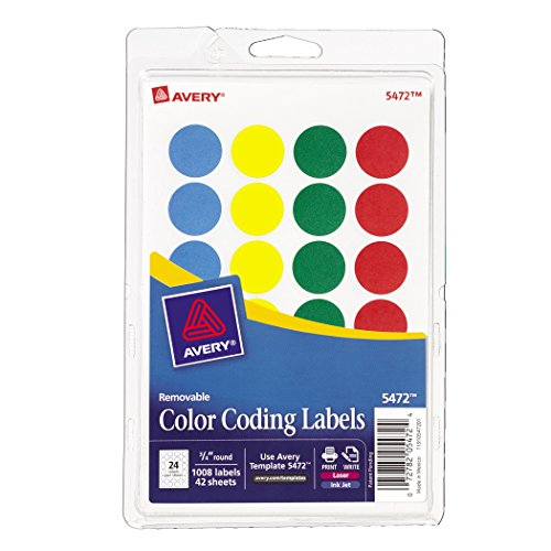 Avery Removable Print Or Write Color Coding Labels Round