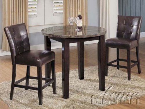 3pc Counter Height Dining Table & Stools Set in Espresso Finish