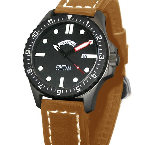 German Military Titanium Watch. GPW GMT Red Minute Hand. Sapphire Crystal. Brown Leatherstrap. 200M W/R<br />