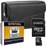 SET Kameratasche Baxxtar M + PATONA Akku für Canon NB-6L + Kingston Speicherkarte UHS-I Micro-SDHC mit Adapter 16GB CLASS 10 !! - Für Canon PowerShot SX600 SX610 SX240 SX260 SX270 SX280 HS