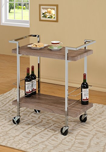 Reclaimed Wood Look Chrome Metal Bar Tea Wine Holder Serving Cart (Bar Cart Wood compare prices)