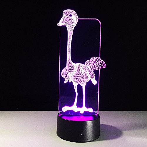 3D Optical Illusion Ostrich LED Lamp