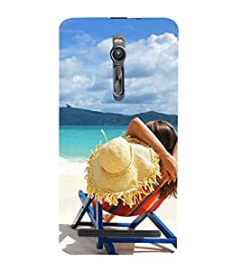 Vizagbeats babe resting in beach Back Case Cover for Asus Zenfone 2::Asus Znfone 2 ZE550ML