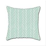 Cotton Linen Throw Pillow, Decorative Pillows.? Herringbone Mint Zoom Cotton Linen Square Decorative Throw Pillow Case Cushion Cover 18 x 18 Inch