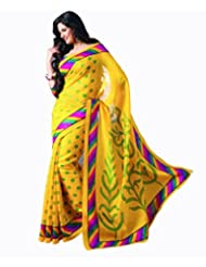Vibes Women's Bhagalpuri Art Silk Saree,With Blouse (VS51-VBK116_Yellow)