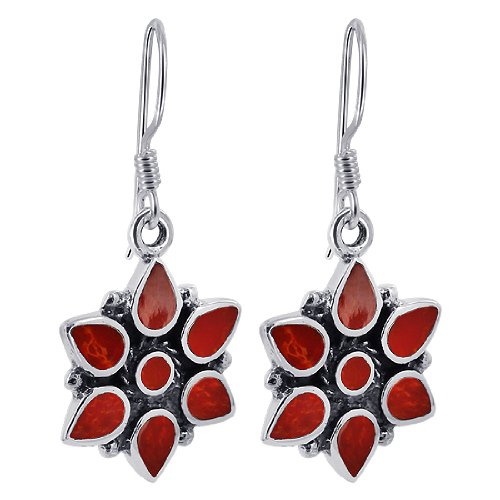 EMES068 Sterling Silver 15mm Flower Simulated Coral French Ear Wire Dangle Earrings